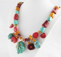 Butter Amber Coral Turquoise Chunky Beaded Necklace by wrenflair, $95.00
