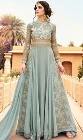 Gray Color Georgette Embroidered Long Anarkali Suit  #anarakalidresses #anarcali Attain a modern empress look wearing this gray color georgette embroidered long Anarkali suit. This beautiful attire is showing some amazing embroidery done with lace and resham work.  USD $ 148 (Around £ 102 & Euro 112)