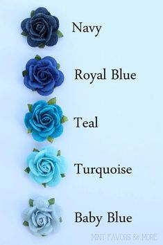 Blue rose flower embellishments - decorations for favors, cards, thank you tags, gift tags, wedding decorations and more - พาเลทเฉดสี(*゚▽゚)ノ - Tattoo Rosa Azul, Blue Roses Wedding, Aqua Wedding, Tiffany Wedding, Blue Flower Tattoos, Tattoo Flowers, Wedding Gift Tags, Wedding Favors, Party Favors