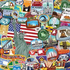 Americana Sticker collage royalty-free stock vector art