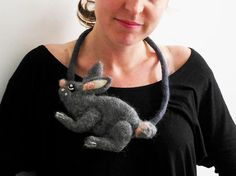felt rabbit fiber artistic necklace statement necklace by evalinen, $29.00