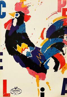 Original 1999 Polish Folk Art Poster, Cepelia (Rooster) - Swierzy