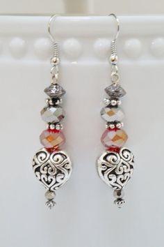 Crystal Earrings Red Mercury Crystal and by BrandyByDesignLtd