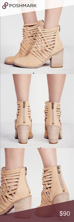 Free People Carrera Heel Boots Washed leather block heel boots with basket-weave detailing up the ankle. Zip backs for easy on/off.  Leather Made in Portugal Free People Shoes Ankle Boots & Booties