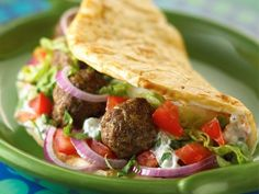 400-Calorie Mediterranean Meals: Meatball Souvlaki http://prevention.com/food/cook/healthy-mediterranean-diet-recipes?s=20?cm_mmc=Facebook-_-Prevention-_-food-cook-_-400MediterraneanMeals