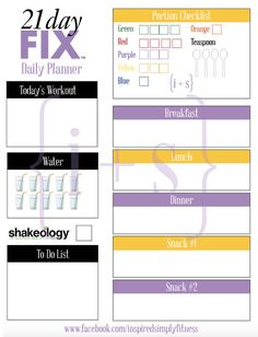 21 Day Fix Printable Meal Workout Planner 1500 by inspiredsimply