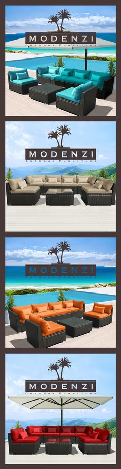 For a Limited time @ $599 Modenzi 7PC Outdoor Patio Furniture Rattan Wicker Sectional Sofa Chair Couch Set