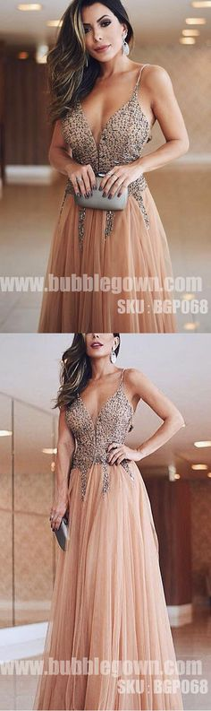 Spaghetti Strap Beaded Top Tulle Formal Long Evening Prom Dress, BGP068 #promdress #promdresses #longpromdress #longpromdresses #eveningdress