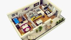 12 Type 36 Home Interior Design for Your Inspiration - House Designs Interior Design Inspiration, Home Interior Design, Bedroom Design 2017, Looking For Houses, Latest House Designs, Apartment Plans, Two Bedroom Apartments, Building A New Home, Home Design Plans