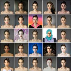 De cultuur bepaald het schoonheidsideaal. Dit zie je op deze foto in elk land werd dezelfde foto bewerkt en zo zie je hoe elk schoonheidsideaal verschild. -OT1