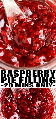 RASPBERRY PIE FILLING RECIPE- Quick, easy, homemade from scratch with simple ingredients in 20 minutes. Can be canned. Can use fresh or frozen berries, even black raspberries. Many uses in desserts like pies, tarts, cobblers, crisps, cupcake/ cake filling, waffles/muffins/ pancake topping. From CakeWhiz.com #pie #piefilling #desserts #recipes #raspberry #raspberries