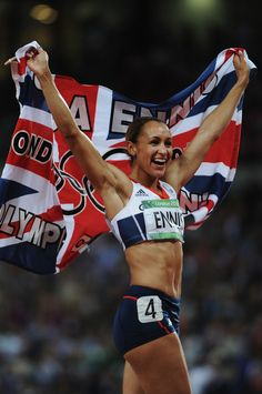 Jessica Ennis Photos - Jessica Ennis of Great Britain celebrates winning gold in the Women's Heptathlon on Day 8 of the London 2012 Olympic Games at Olympic Stadium on August 2012 in London, England. - Olympics - Best of Day 8 Great Britain Olympics, Jess Ennis, Heptathlon, 2012 Summer Olympics, Olympic Gold Medals, Sports Personality, London Summer, High Jump, Long Jump
