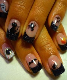 Simple but frightening nail art for Halloween