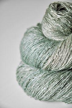 Dried mint leaves OOAK - Tussah Silk Yarn Lace weight