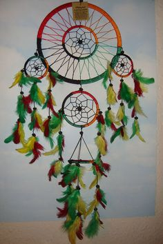 Handmade Largetriple Cotton Rasta Rainbow Dreamcatcher New Colours UK Seller | eBay