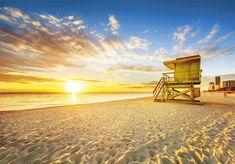 Miami South Beach Sunrise Lifeguard Tower Stock Photo (Edit Now) 206500615 South Beach Miami, Delray Beach Florida, Florida Beaches, Miami Beach Hotels, Florida Travel, Puerto Limon, Sunrise Photography, House Photography, Khao Lak Beach