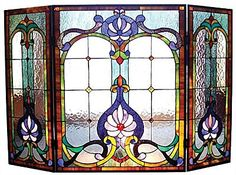 online shopping for Chloe Lighting Folding Victorian 44 Wide Tiffany-Glass Fireplace Screen from top store. See new offer for Chloe Lighting Folding Victorian 44 Wide Tiffany-Glass Fireplace Screen Stained Glass Designs, Stained Glass Panels, Stained Glass Projects, Stained Glass Patterns, Leaded Glass, Stained Glass Art, Mosaic Glass, Victorian Fireplace Screens, Stained Glass Fireplace Screen