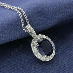 Halo Pendant Necklaces CT Blue Sapphire and Diamond White Gold Finish Swarovski Crystal Necklace, Diamond Pendant Necklace, Diamond Necklaces, Tiny Stud Earrings, Necklace Sizes, Selling Jewelry, Sterling Silver Pendants, Blue Sapphire, White Gold