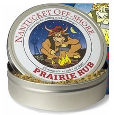 Nantucket Off-Shore Prairie Rub 2.75 oz.   Spice up your kitchen and backyard grill with these distinct and dazzlingly delicious salt-free herb and spice rubs of the highest quality, most flavorful and visually appealing ingredients. Each comes beautifully packaged in a decorative tin.