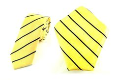 Mens 6cm Yellow with Black Stripes Skinny Tie with Pocket Square.
