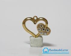 จี้โลหะ สีทอง รูปหัวใจ ประดับเพรช