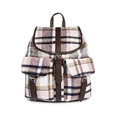 Under One Sky Women's Backpack Handbag with Plaid Design ($35) ❤ liked on Polyvore featuring bags, backpacks, brown, flap backpack, under one sky bags, under one sky, draw string bag and flap bag