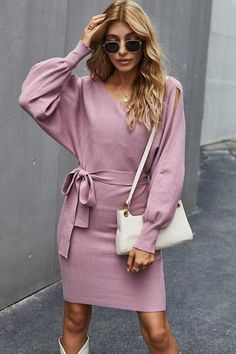 Solid Color Slit Pinafore Dress– Pavacat Denim Bodycon Dress, Laced Up Shirt, Straight Dress, Pinafore Dress, Types Of Dresses, Skirts With Pockets, Dress With Bow, Long Sleeve Sweater, Types Of Sleeves