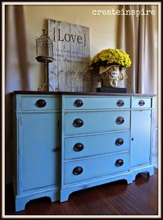 """{createinspire}: Vintage Buffet in """"Interesting Aqua"""" from Sherwin Williams. Love this color!!!"""