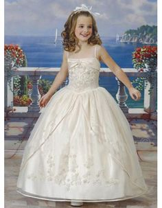 Pretty Ball Gown Spaghetti Straps Ankle Length Embroidery First Communion Dresses with Jacket/ Princess Bubble Skirt Flower Girl Dresses with Slit