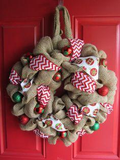 Christmas burlap wreath I made :)