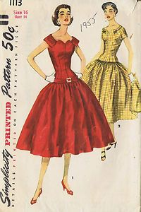 "VINTAGE 1 PC DRESS SEWING PATTERN SIMPLICITY 1113 SIZE 16 BUST 34 HIP 37"" UNCUT 