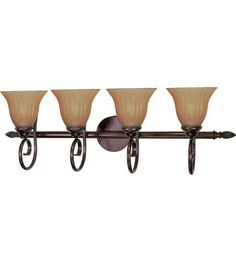 Nuvo 60/2414 Moulan 4 Light Bathroom Vanity Lights in Copper Bronze by Nuvo. $149.99. Moulan''s graceful curved arms finished in Copper hammered Bronze are complimented by Champagne Linen Washed glass shades.