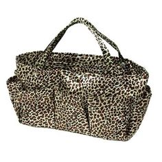 Brown Leopard Print Tote Travel Cosmetic Make-up Bag Organizer - Price: 	$18.99 [Click On Image For Details]