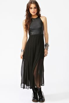 I'm tellin ya - sheer is it the summer... if you buy anything just for this summer, make it sheer!  Oh and then add leather... get outta here!  <3   Leather & Chiffon Maxi Dress