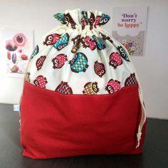 Amusants ces hiboux !  Un pochon taille XL en coton ou sac à encours tricot ou crochet - Knitting bag owl