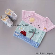 Akşam Blissful night 🏵🍃 🏵🍃 🍃 🍃 🏵 The photographs on my web page . - Baby And Women Knitted Baby Cardigan, Baby Pullover, Knitted Hats, Baby Knitting Patterns, Baby Patterns, Crochet For Kids, Crochet Baby, Happy Evening, Kids Vest