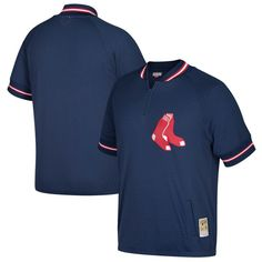 Boston Red Sox Mitchell & Ness Cooperstown Collection Mesh Batting Practice Quarter-Zip Jersey - Navy