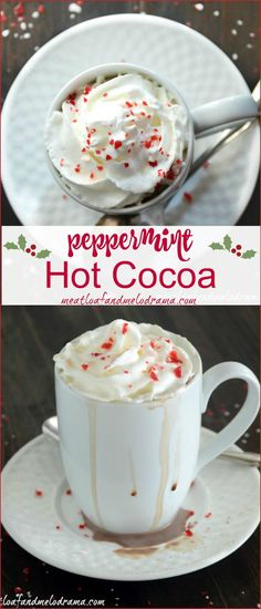 Peppermint Hot Cocoa. Rich, creamy homemade hot chocolate flavored with peppermint is perfect for the holidays!
