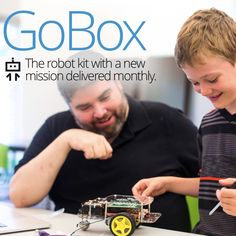 The GoBox is a full GoPiGo Raspberry Pi robot car kit plus a new mission and robot sensor mailed to your door every month, for a year!