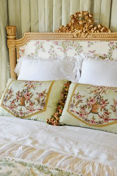 Gold, French inspired Bed with Antique Linens with Pillows...Linda Floyd