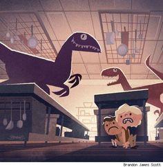 1950's style Jurassic Park art