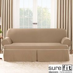 Sure Fit Contrast Cord Cocoa Sofa T-cushion Slipcover   Overstock.com Shopping - Big Discounts on Sure Fit Sofa Slipcovers