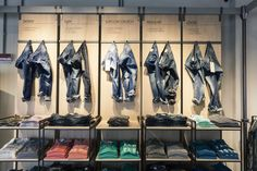 INTERCHANGABLE PARTS 2/3  ANAGLOUS PLUS COMPIMENTARY SHADES OF BLUE  Flexible Store for Benetton in Milan