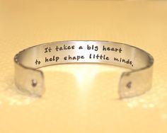 Teacher Gift | Gift for Teachers | Daycare Gift | Babysitter Gift | Nanny Gift | It takes a big heart... Custom Bracelet by Korena Loves