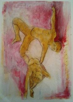 Trapeze ~ mixed media on paper. Inspired by Cirque de Soleil.