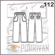 Выкройка летних брюк капри построена для женщин с размерами 44, 46, 48, 50, 52, 54. В брюках передние и задние накладные карманы, пояс, молния располагаетс