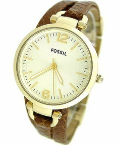 Fossil Georgia Leather Watch Light Brown Fossil. $134.00. Fossil ES3156 Women's Georgia Brown Leather Crossover Strap White Dial Watch