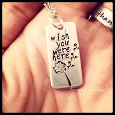 Dandelion Hand Stamped Memorial Necklace, Rectangle Necklace, Wish You Were Here, on Etsy, $28.00