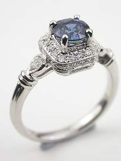 Antique Style Sapphire Engagement Ring. I would die if I were proposed to with this. And then I'd come back and say yes.