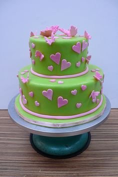 green pink hearts butterflies wedding cake